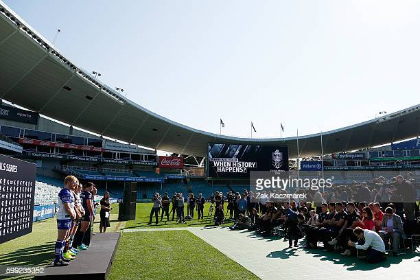 A general view of the media conference during the 2016 NRL Finals series launch at Allianz Stadium on September 5 2016 in Sydney Australia