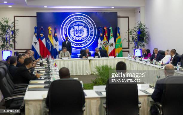 General view of the mediated meeting between representatives of the Venezuelan government and members of the Venezuelan opposition at the Dominican...