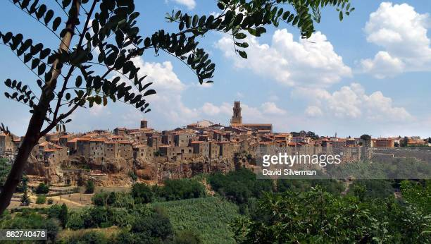 A general view of the medieval village of Pitigliano on July 22 2015 in the Grosseto province of Tuscany Italy Tuscany is renowned for its landscapes...