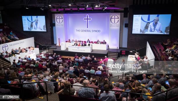 A general view of the meeting at the Church of England General Synod at the University of York as the Church of England's ruling body is to vote on...