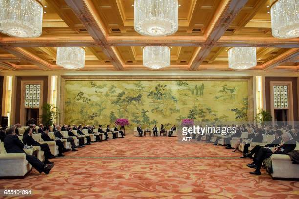 A general view of the meeting between Chinese Premier Li Keqiang and Global 500 enterprises' heads during the China Development Forum at the...