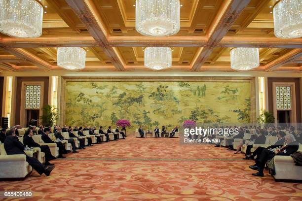 General view of the meeting between Chinese Premier Li Keqiang with Global 500 enterprises' heads at China Development Forum at Diaoyutai State...