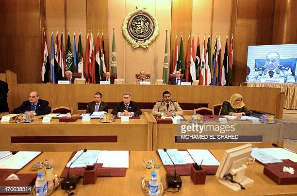 A general view of the meeting of the army chiefs from Arab League nations at the Arab League headquarters in Cairo on April 22 2015 Army chiefs from...