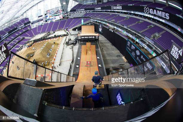 A general view of the Mega Ramp for the Big Air competition during the X Games on July 13 2017 at US Bank Stadium in Minneapolis Minnesota