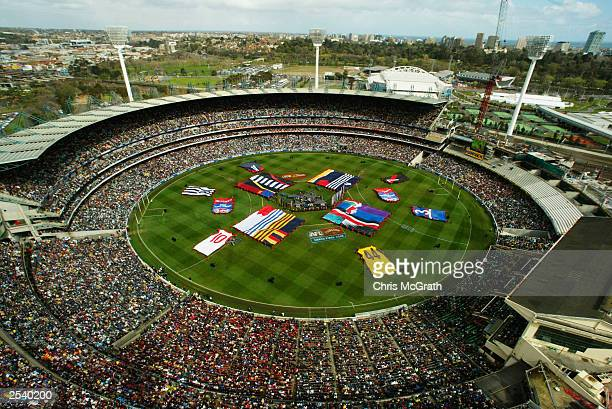 A general view of the Melbourne Cricket Ground before the AFL Grand Final between the Collingwood Magpies and the Brisbane Lions at the Melbourne...
