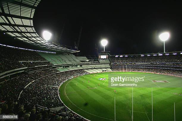 A general view of the Melbourne Cricket Ground during the AFL preliminary final between the St Kilda Saints and the Sydney Swans at the Melbourne...