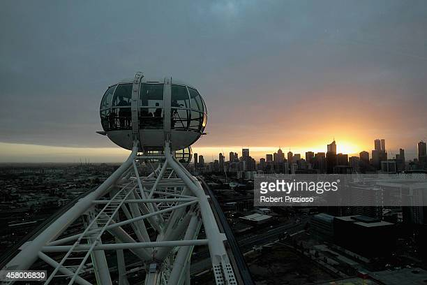 A general view of the Melbourne Star prior to Channel seven presenter Edwina Bartholomew holding the Emirates Melbourne Cup in the Melbourne Star...