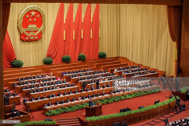 General view of the members of the Chinese government during the Third Plenary Session of the Fifth Session of the 12th National People's Congress at...