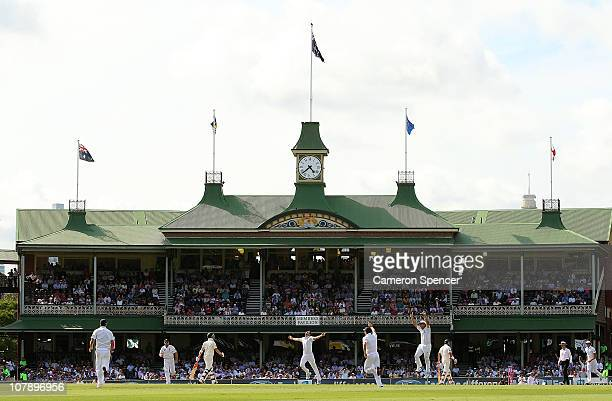 A general view of the Member's Pavilion as James Anderson of England celebrates after dismissing captain Michael Clarke of Australia during day four...