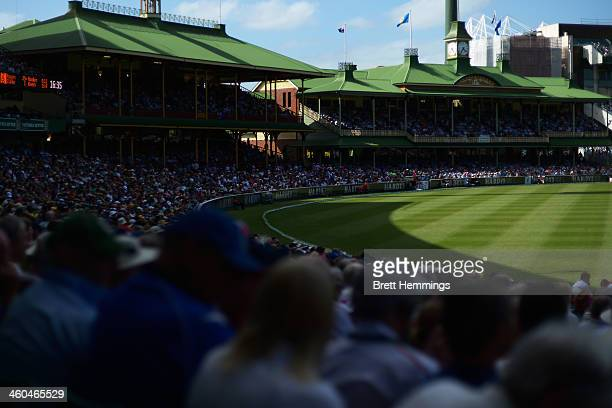 A general view of the Members Stand and Ladies Pavillion during day two of the Fifth Ashes Test match between Australia and England at Sydney Cricket...