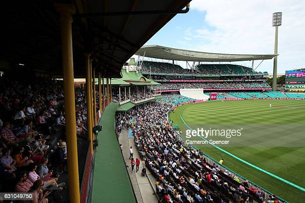 A general view of the Members Stand and the MA Noble Stand and the Don Bradman Stand during day four of the Third Test match between Australia and...