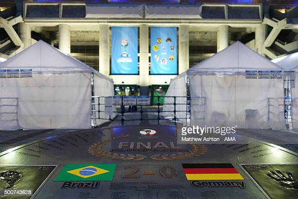 A general view of the memorial commemorating the FIFA World Cup Final in 2002 at Yokohama Stadium before the FIFA World Club Cup match between...