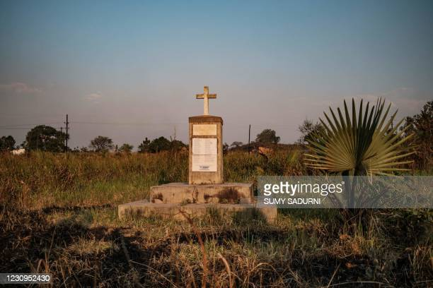 General view of the memorial for the victims of the Lukodi massacre in Lukodi, Uganda, on February 3 where the massacre where more than 60 men, women...