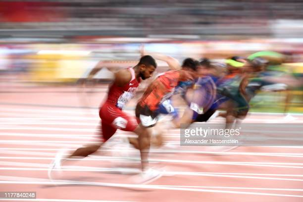 A general view of the Men's 100 metres Heat during day two of 17th IAAF World Athletics Championships Doha 2019 at Khalifa International Stadium on...