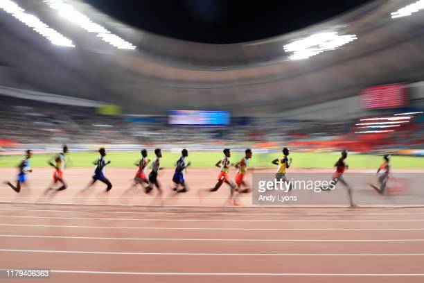 General view of the Men's 10,000 metres final during day ten of 17th IAAF World Athletics Championships Doha 2019 at Khalifa International Stadium on...