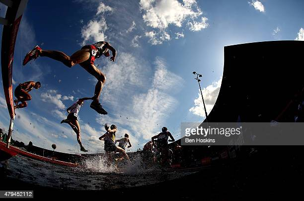 A general view of the mens 3000m steeplechase on day two of the Sainsbury's British Championships at Birmingham Alexander Stadium on July 4 2015 in...