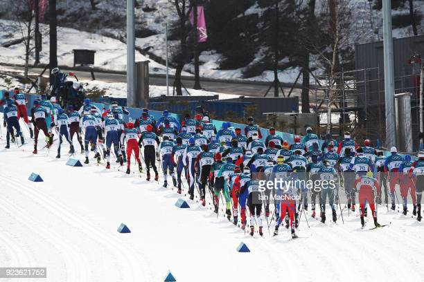 A general view of the Men's 50km Mass Start Classic at Alpensia CrossCountry Centre on February 24 2018 in Pyeongchanggun South Korea