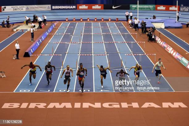 A general view of the Men's 60m hurdles during the Muller Indoor Grand Prix IAAF World Indoor Tour event at Arena Birmingham on February 16 2019 in...