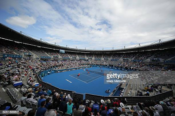 A general view of the men's doubles final between Jamie Murray of Great Britain and Bruno Soares of Brazil against against Rohan Bopanna of India and...