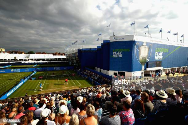 A general view of the mens doubles match between Jamie Murray of Great Britain Bruno Soares of Brazil and Ryan Harrison of The United States and...