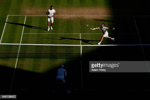 A general view of The Men's Doubles third round match as Mike Bryan of The United States and Bob Bryan of The United States play Radek Stepanek of...