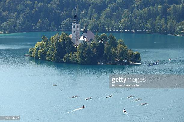 General view of the Men's Eight semi finals during day four of the FISA Rowing World Championships at Lake Bled on August 31 2011 in Bled Slovenia
