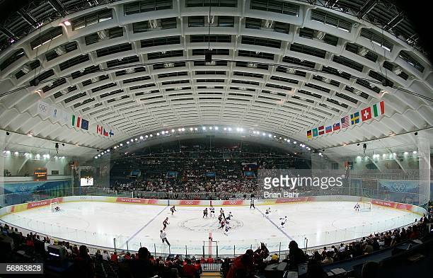 A general view of the men's ice hockey Preliminary Round Group B match between Slovakia and Latvia during Day 6 of the Turin 2006 Winter Olympic...