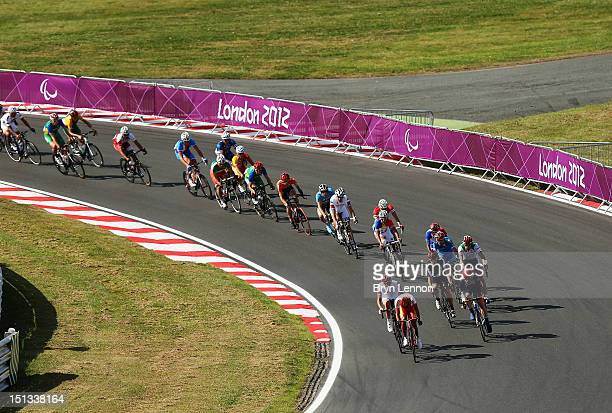 A general view of the Men's Individual C 45 Road Race on day 8 of the London 2012 Paralympic Games at Brands Hatch on September 6 2012 in Longfield...