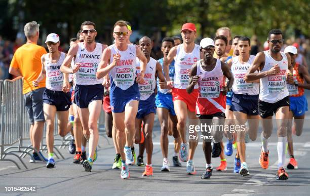A general view of the Men's Marathon final during day six of the 24th European Athletics Championships at Olympiastadion on August 12 2018 in Berlin...