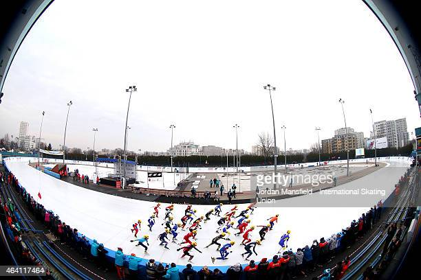 General view of the Men's Mass Start race during day three of the ISU World Junior Speed Skating Championships at Stegny Ice Rink on February 22,...