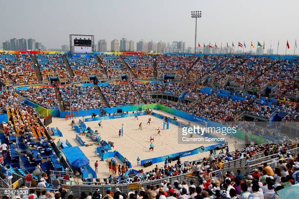 A general view of the men's semifinal beach volleyball match between Georgia and the United States at the Chaoyang Park Beach Volleyball Ground...