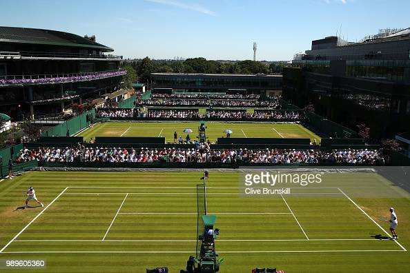 A general view of the Men's Singles first round match between JanLennard Struff of Germany and Leonardo Mayer of Argentina on day one of the...