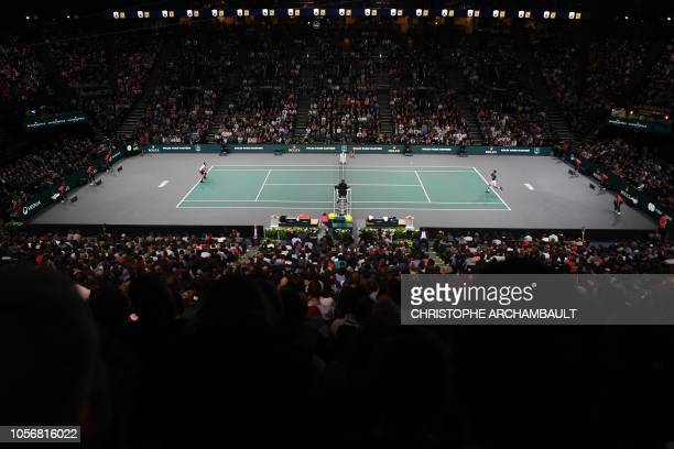 General view of the men's singles semi-final tennis match between Serbia's Novak Djokovic and Switzerland's Roger Federer, on day six of the ATP...