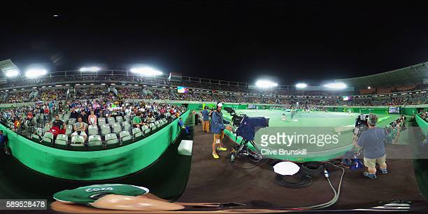 General view of the Men's Singles Tennis gold medal match between Andy Murray of Great Britain and Juan Martin Del Potro of Argentina on Day 9 of the...