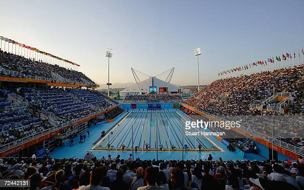 A general view of the men's swimming 400 metre freestyle final on August 14 2004 during the Athens 2004 Summer Olympic Games at the Main Pool of the...