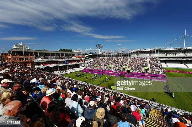 A general view of the Men's Team Eliminations match between Italy and Chinese Taipei on Day 1 of the London 2012 Olympic Games at Lord's Cricket...