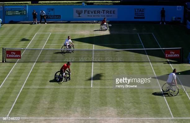 A general view of the men's wheelchair doubles during Day 5 of the FeverTree Championships at Queens Club on June 22 2018 in London United Kingdom