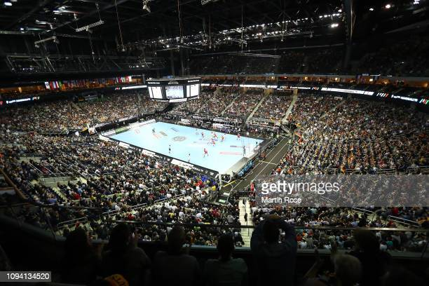 General view of the Mercedes Benz Arena during the 26th IHF Men's World Championship group A match between Russia and Germany at Mercedes-Benz Arena...