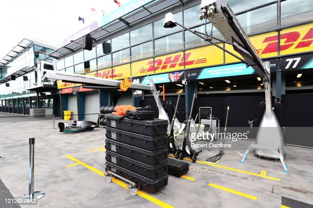 General view of the Mercedes garage after the F1 Grand Prix of Australia was cancelled at Melbourne Grand Prix Circuit on March 13, 2020 in...