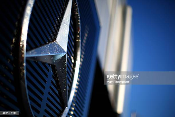 A general view of the Mercedes GP motorhome in the paddock during day two of Formula One Winter Testing at Circuito de Jerez on February 2 2015 in...
