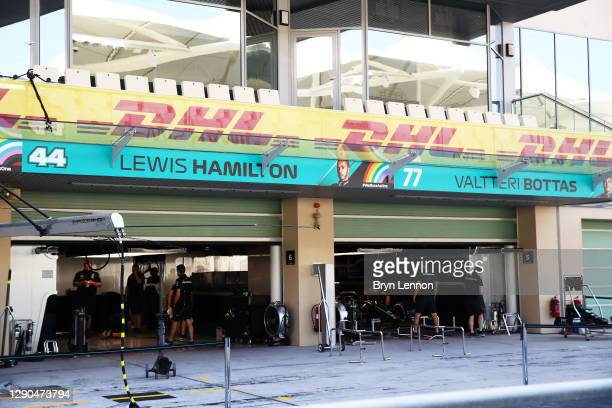 General view of the Mercedes GP team garages of Lewis Hamilton of Great Britain and Mercedes GP and Valtteri Bottas of Finland and Mercedes GP during...