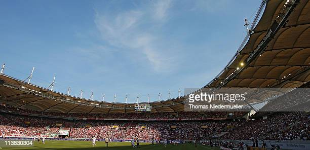 General view of the MercedesBenz Arena during the Bundesliga match between VfB Stuttgart and Hannover 96 at MercedesBenz Arena on May 7 2011 in...