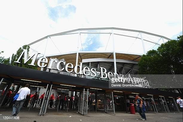 A general view of the MercedesBenz Arena is taken prior to the Bundesliga match between VfB Stuttgart and FC Schalke 04 at MercedesBenz Arena on...