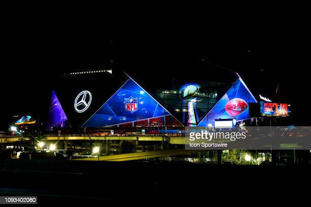 A general view of The MercedesBenz Stadium on Saturday night before the game during Super Bowl LIII week on February 02 2019 in Atlanta GA