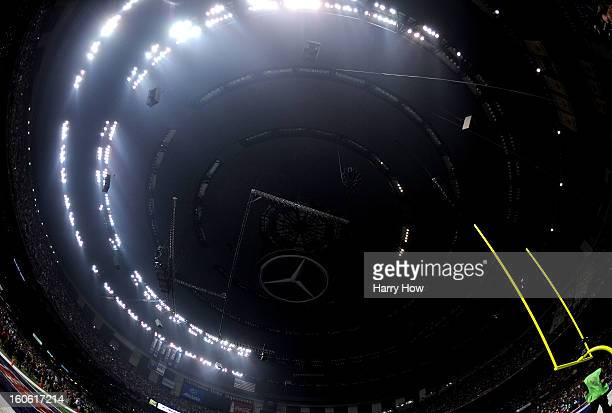 A general view of the MercedesBenz Superdome after a sudden power outage that lasted 34 minutes in the second half during Super Bowl XLVII between...