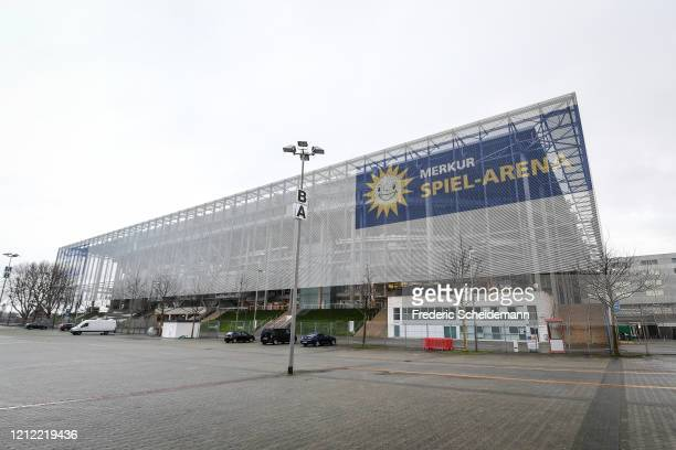 A general view of the Merkur SpielArena following the announcement of the German Football League to postpone the Bundesliga Matchday 26 due to the...