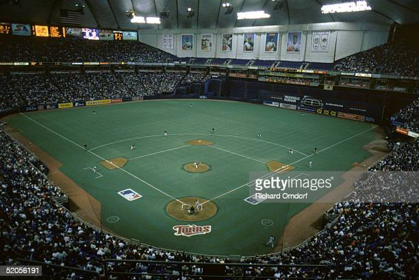 A general view of the MetroDome taken during a Minnesota Twins 2002 season game in Minneapolis Minnesota