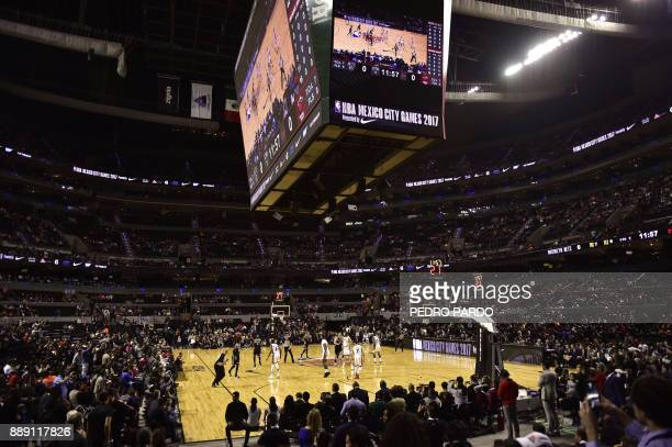 General view of the Mexico City Arena during the NBA Global Games match Miami Heat against Brooklyn Nets on December 9 in Mexico City / AFP PHOTO /...
