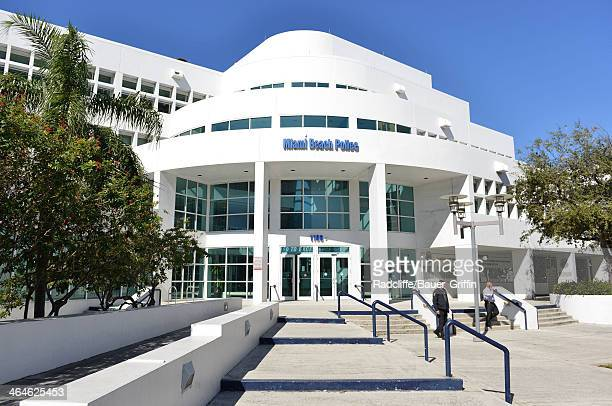 General view of the Miami Beach Police Station where Justin Bieber was booked after his arrest for drunken driving, resisting arrest and driving...