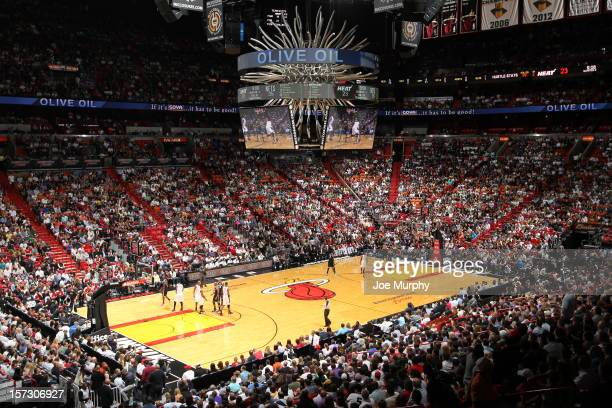 General view of the Miami Heats home court during the Brooklyn Nets and Miami Heat game on December 1 2012 at the American Airlines Arena in Miami...